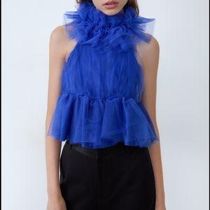 NWT Zara Voluminous Tulle Top Peplum Blue